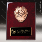 Engraved Rosewood Plaque Cast Police Department Emblem Award Rosewood Piano Finish Plaques