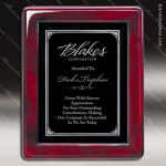 Engraved Rosewood Plaque Framed Black Plate Silver Border Rosewood Piano Finish Plaques