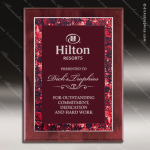 Engraved Rosewood Plaque Red Marble Border Design Award Rosewood Piano Finish Plaques