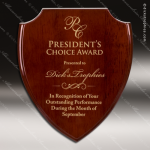 Engraved Rosewood Plaque Piano Finish Shield Wall Placard Award Rosewood Piano Finish Plaques
