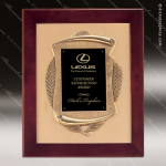 Engraved Rosewood Plaque Framed Black Plate Cast Wreath Wall Placard Award Rosewood Piano Finish Plaques