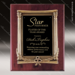 Engraved Rosewood Plaque Framed Black Plate Wreath Border Wall Placard Awar Rosewood Piano Finish Plaques