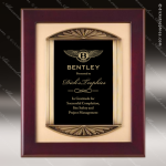Engraved Rosewood Plaque Framed Black Plate Sunburst Border Wall Placard Aw Rosewood Piano Finish Plaques