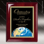 Engraved Rosewood Plaque Globe Earth Black Plate Wall Placard Award Rosewood Piano Finish Plaques