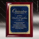 Engraved Rosewood Plaque Blue Marble Plate Gold Border Award Rosewood Piano Finish Plaques