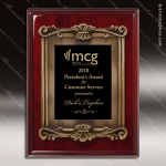 Engraved Rosewood Plaque Black Plate Cast Border Award Rosewood Piano Finish Plaques