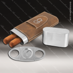Embossed Etched Leather Cigar Case with Cutter -Rustic/Silver Rustic Brown Leather Items