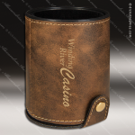 Embossed Etched Leather Dice Cup Set -Rustic/Gold Rustic Brown Leather Items
