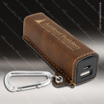 Embossed Etched Leather 2200mAh Power Bank -Rustic/Gold Rustic Brown Leather Items