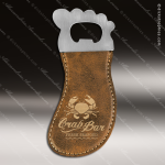 Embossed Etched Leather Magnetic Foot Shaped Bottle Opener Rustic Gold Etch Rustic Brown Leather Items