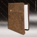 Embossed Etched Leather Portfolio With Zipper Rustic Gold Gift Rustic Brown Leather Items