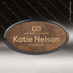 Laser Etched Engraved Rustic Leather Name Badge Black Frame Magnet Backed Rustic Leather Name Badges
