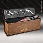 Engraved Etched Leather Wine Tool Set Rustic Presentation Box Gift Set Rustic Leather Wine Boxes & Tool Sets