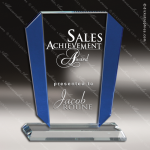 Crystal Blue Accented Sail Victory Trophy Award Sail Shaped Crystal Awards