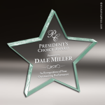 Acrylic  Jade Accented Star Paperwieght Trophy Award Sales Trophy Awards