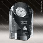 Crystal Clock Silver Accented Eternity Engravable Clock Award Sales Trophy Awards
