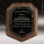 Engraved Walnut Plaque Marble Magic Shield Award Sales Trophy Awards