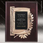 Engraved Mahogany Plaque Antique Bronze Oak Leaf Award Sales Trophy Awards