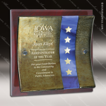 Engraved Art Glass Plaque Mahogany Gold Curve Wall Placard Award Sales Trophy Awards