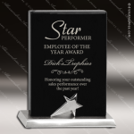 Black Piano Finish Standing Star Recognition Plaque Sales Trophy Awards