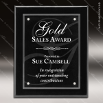 Engraved Black Piano Finish Plaque Floating Acrylic Magna Wall Placard Awar Sales Trophy Awards