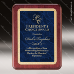 Engraved Rosewood Plaque Blue Marble Plate Gold Border Wall Placard Award Sales Trophy Awards