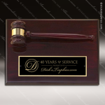 Engraved Rosewood Plaque Gavel Mounted Gold Band Black Plate Wall Plaque Sales Trophy Awards