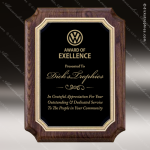 Engraved Walnut Plaque Black Scalloped Plate Wall Placard Award Sales Trophy Awards