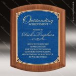Engraved Walnut Plaque Blue Marble Shield Plate Gold Border Wall Placard Aw Sales Trophy Awards