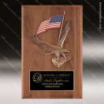 Engraved Walnut Plaque Eagle American Flag Wall Placard Award Sales Trophy Awards