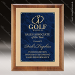 Engraved Walnut Plaque Blue Marble Plate Gold Border Wall Placard Award Sales Trophy Awards