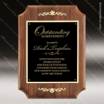 Engraved Walnut Plaque Black Plate Gold Flourish Wall Placard Award Sales Trophy Awards
