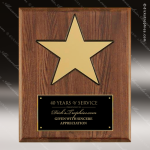 Engraved Walnut Plaque Black Plate Gold Star Wall Placard Award Sales Trophy Awards