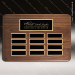 The Tofollla Walnut Perpetual Plaque  12 Black Plates Sales Trophy Awards