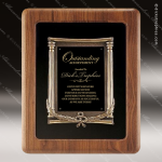 Engraved Walnut Plaque Framed Black Plate Gold Cast Border Wall Placard Awa Sales Trophy Awards