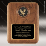 Engraved Walnut Plaque Eagle Medallion Black Plate Wall Placard Award Sales Trophy Awards
