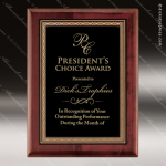Engraved Rosewood Plaque Black Plate Gold Border Wall Placard Award Sales Trophy Awards