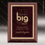 Engraved Cherry Hardwood Plaque Red Ruby Marble Plate Wall Placard Award Sales Trophy Awards