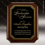 Engraved Rosewood Plaque Black Plate Notched Corner Wall Placard Award Sales Trophy Awards