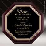 Engraved Rosewood Plaque Black Plate Octagon Shapped Wall Placard Award Sales Trophy Awards