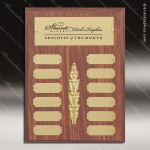 The Morvilla Laminate Walnut Perpetual Plaque  12 Gold Plates Sales Trophy Awards
