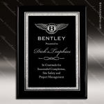 Engraved Black Piano Finish Plaque Silver Florentine Border Black Plate Wal Sales Trophy Awards
