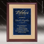 Engraved Cherry Hardwood Plaque Blue Marble Gold Border Wall Placard Award Sales Trophy Awards