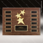 The Rafanan Walnut Perpetual Plaque  12 Black Plate Star Sales Trophy Awards