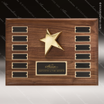 The Rafanan Walnut Perpetual Plaque  12 Black Plates Star Sales Trophy Awards