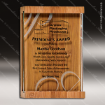 Engraved Bamboo Plaque Jade Glass Jade Accented Wall Placard Award Sales Trophy Awards