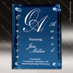 Engraved Glass Plaque Clear Mirrored Backer Blue Art Wall Placard Award Sales Trophy Awards
