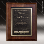 Engraved Walnut Plaque Gold Recessed Zinc Plate Wall Placard Award Sales Trophy Awards