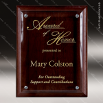 Engraved Walnut Plaque Floating Jade Glass Accented Wall Placard Award Sales Trophy Awards