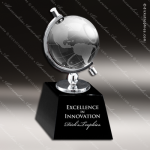 Crystal Black Accented Globe In Semi-Meridian Holder Trophy Award Sales Trophy Awards